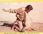 Vintage Florida Postcard - Miami - Musa Isle Indian Village Seminole Indian Boy Wrestling Alligator