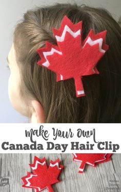 A free printable template for a simple Canada Day hair clip craft. Wear your pride this Canada Day or switch up the colours and make a maple leaf hair clip for the fall. Family Crafts, Crafts For Kids To Make, Baby Crafts, Toddler Crafts, Felt Crafts, Kid Crafts, Leaves Template Free Printable, Maple Leaf Template, Canada Day Crafts