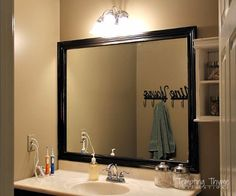 Home Improvement Hacks. - Frame a Builder Grade Bathroom Mirror - Remodeling Ideas and DIY Home Improvement Made Easy With the Clever, Easy Renovation Ideas. Kitchen, Bathroom, Garage. Walls, Floors, Baseboards,Tile, Ceilings, Wood and Trim. http://diyjoy.com/home-improvement-hacks