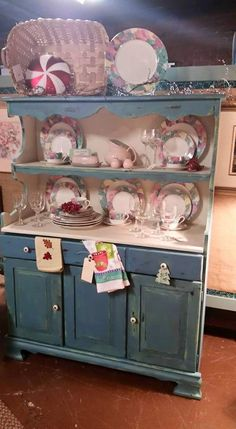PAINTED FURNITURE, Vintage, Shabby Chic, Chalk Painted, Home Decor, Distressed Furniture, Farm Hutch, Chippy Paint, Blue & Antique White by GypsySoulChalkPaints on Etsy