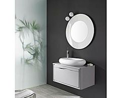 Mueble de baño suspendido, lavabo y espejo THAIS UNO 80