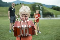 Family Day at Swarovski Kristallwelten. Children got their first contact with music instruments - a great family trip for weekends in Wattens, Tyrol.
