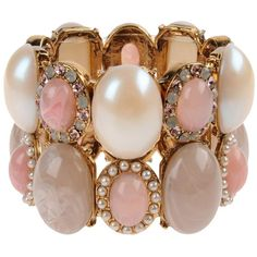 DANIELA FARAH Bracelet ($325) ❤ liked on Polyvore featuring jewelry, bracelets, accessories, pink, pulseiras, pink bangles, beaded bangles, beaded jewelry, brass bangles and brass jewelry