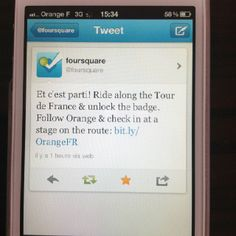 @foursquare New York city & San Francisco mentions Orange France  #TourdeFrance . Check in at a stage on the route .