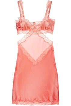 Stella Mccartney Clara Whispering Stretch Silksatin Chemise in Red (ruby) Pretty Lingerie, Sexy Lingerie, Bridal Lingerie, Stella Mccartney, Boudoir, Silk Chemise, Coral, Lingerie Sleepwear, Passion For Fashion