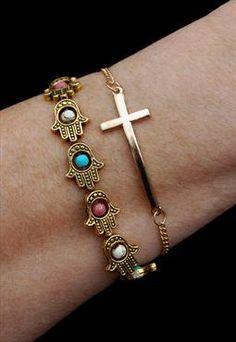 Gold Sideways Cross Chain Bracelet Trendy Fashion 2017 Bracelets Link