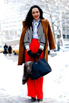 Layer, layer, layer — and pick a signature bright to add a pop to the dreariest of blizzards.