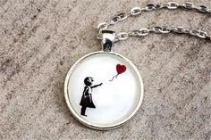 Banksy Inspired / Girl with Balloon / Girl Gift Idea / Free Cheap Necklaces, Handmade Necklaces, Handmade Jewelry, Unique Jewelry, Etsy Handmade, Small Gift Boxes, Small Gifts, Banksy Girl, Dandelion Necklace