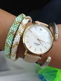 love these Lily and Laura beaded bracelets, Kate Spade watch, and David Yurman cable bracelet