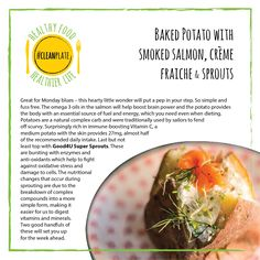 Good4U - Blog what are the health benefits of baked potato with salmon and sprouts?  For healthy recipe follow the link. Eat clean. Clean eating. Healthy. Easy. Eating Healthy, Get Healthy, Clean Eating, Healthy Recipes, Omega Oils, Clean Plates, Clean Clean, Creme Fraiche, Smoked Salmon