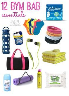 12 gym bag essentials that every woman needs to stay motivated during a workout! Some are obvious - and some will totally surprise you (like 3, 5 and 11!) Get your gym bag packed and stay motivated!