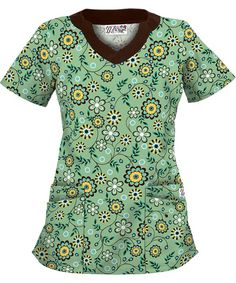UA194STS UA Women's Spring Time Splash Willow Scallop Neck Scrub Top http://www.uniformadvantage.com/pages/prod/ua194sts-print-scrub-top.asp