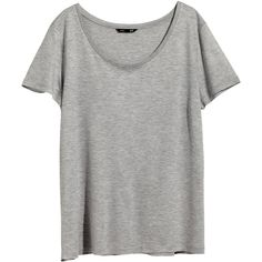 H&M Short-sleeved top (10 CAD) ❤ liked on Polyvore featuring tops, t-shirts, shirts, blusas, grey, h&m tops, gray shirt, h&m shirts, gray t shirt und grey tee