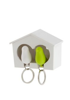 Matching double key holder so you never have to scramble to find your keys. Each bird also works as a whistle for safety