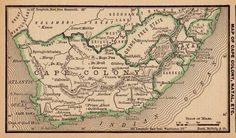 Antique Map of SOUTH AFRICA Vintage 1886 MINIATURE by plaindealing, $7.95