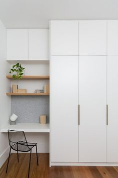 Tiny, simple office nook in white with open blonde wood shelves and felt tack bo. Tiny, simple office nook in white with open blonde wood shelves and felt tack bo… – Bedroom Cupboard Designs, Wardrobe Design Bedroom, Closet Bedroom, Home Bedroom, Bedroom Cupboards, Teen Bedroom, Bedroom Storage, White Wardrobe Closet, Ikea Wardrobe