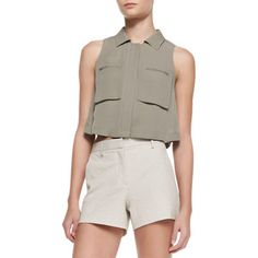 Theory Gemia Cropped Pocket Blouse