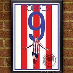 Fernando Torres Poster - Atletico Madrid Soccer Art. Atlético Madrid Poster: Fernando Torres Art Poster. Madrid Artwork Sizes Available: 8.5x11 inches 13x19 inches Poster printed on 100% acid-free premium archival fine art paper. The image comes with 1/2 inch white border border all around for easy framing. All items are shipping in rigid mailing tube to ensure it arrives in good condition.