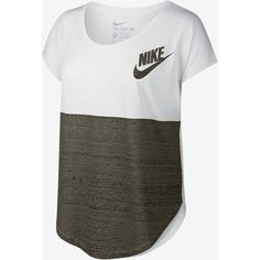Nike Signal Color-Block Women's T-Shirt. Nike.com ($30) ❤ liked on Polyvore featuring tops, t-shirts, block tops, color block t shirt, colorblock top, nike tees and nike