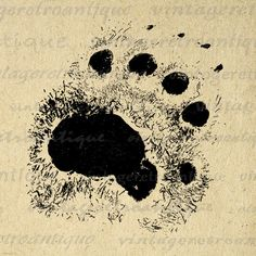 Bear Paw Print Image Digital Graphic Claw by VintageRetroAntique