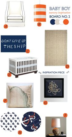 nautical nursery inspiration, orange, blue & taupe....but not for a nursery, I just really like this color combo, no nursery for me thanks!
