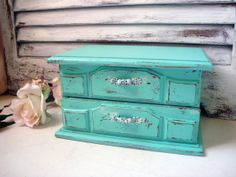 Aqua Vintage Musical Jewelry Box, Small Wooden Jewelry Holder, Beach Cottage Jewelry Box, Shabby Chic, Up Cycled Painted Jewelry Chest on Etsy, $42.00