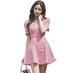 97593a56c49 Summer Plaid Dress Short Sleeve Square Collar Sundress Bodycon Mini Dresses  White Plaid