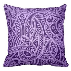 Funky Purple Abstract Paisley Pattern Throw Pillow - This light and dark purple throw pillow or cushion has a modern take on paisley versus a tribal and an almost Celtic like pattern with intertwining lines, curves and dots. Purple Love, All Things Purple, Shades Of Purple, Purple Stuff, Purple Bed, Purple Glass, Dark Purple, Mauve, Purple Rooms