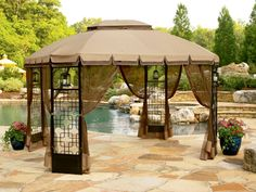 Gazebos And Canopies | ... Oasis Trellis Gazebo 10 X 10 Pitched Roof Line