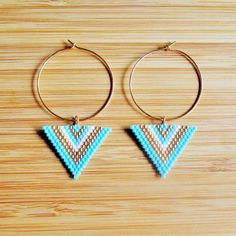 Creole earrings gold plated and triangles beads Miyuki turquoise matte and ., Creole earrings gold plated and triangles beads Miyuki turquoise matte and . Hand Jewelry, Bead Jewellery, Seed Bead Jewelry, Seed Bead Earrings, Diy Earrings, Earrings Handmade, Beaded Jewelry, Hoop Earrings, Beaded Earrings Patterns