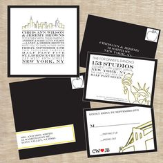 Big City New York City Customizable Wedding Invitations in Gray