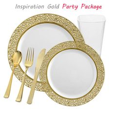 836941c85d6bda1d617c0f9acf7735b3--gold-plastic-plates-gold-cutlery.jpg  sc 1 st  Pinterest & White with Gold Heavyweight Plastic Elegant Disposable Plates ...