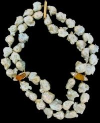 Nicholas Varney Double Strand with Fresh Water Pearls and Fire Opals