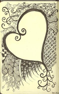 Art Journaling - Zentagles swirly heart. Zentangles are pieces of unplanned, abstract, black and white art created with a very structured method from an ensemble of repetitive patterns.