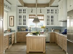 Cool Blue Traditional Kitchen - mixed cabinet colors