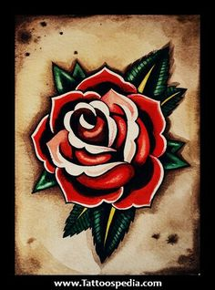 American traditional rose tattoo