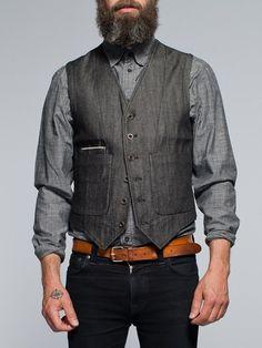Great style! Eino WaistCoat Organic Black Selvage Denim - Nudie Jeans