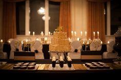 Black, gold and white dessert table
