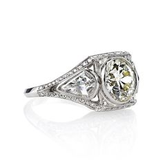 One of a Kind Diamond Platinum Engagement Ring image 2