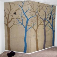 """A burlap painting on an entire wall made from sewn burlap bags. Genius.  """" lots left over from halloween, think I will make some art for the walls!""""   scrren print on burlap/stencils"""" awesome and cheap""""  lele"""