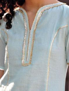 Nakki Lace Pale Blue-Mustard Gota Embellished Cotton Kurta & Elasticated Waist Sharara & Crinkled Dupatta Set of 3 Neck Designs For Suits, Dress Neck Designs, Designs For Dresses, Blouse Designs, Kurti Sleeves Design, Kurta Neck Design, Kurta Patterns, Tandoori Masala, Indian Designer Suits