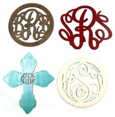 Wooden Monograms from Initial Outfitters.  Sent in their original color, ready to be painted & decorated to match your decor