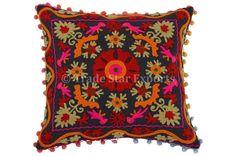 Suzani Pillow Cover Indian Boho Throw Cushion Cover Embroidery Pom Pom Shams | eBay