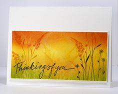 golden watercolored grasses card by Heather Telford.... and watermarked!