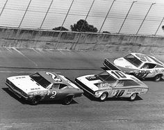 Ottinger (#2) leads Neil Bonnett (#10) and Red Farmer (#97) early in the running of the Permatex 300 NASCAR Late Model Sportsman race at Daytona International Speedway. Only Farmer was still running at the finish, coming home in second place behind winner Bill Dennis.