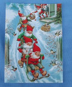 lars carlsson, gnomes in action on sled and kick sled sweden tomte postcard Swedish Christmas, Christmas Mood, Christmas Gnome, Scandinavian Christmas, Yule, Vintage Christmas Images, Christmas Pictures, Vintage Greeting Cards, Vintage Postcards