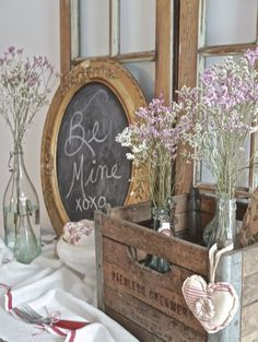 Chateau Chic - Valentine Vignette using vintage Dairy crate, Chalkboard, French bottles, cloth hearts: