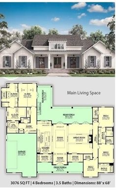 4 Bedroom Modern Farmhouse with Bathrooms and an Outdoor Living Space at COOL House Plans - Best Home Design Modern Farmhouse Plans, Modern House Plans, Farmhouse Style, Craftsman House Plans, Dream House Plans, Cool House Plans, Square House Floor Plans, Sims 3 Houses Plans, Large Floor Plans