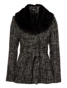 Women's Textured Faux Fur Trim Jacket
