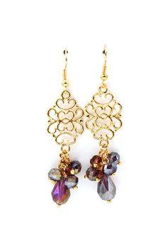 Danica Earrings in Amethyst Crystal